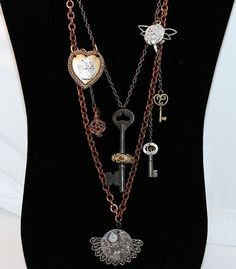 Steampunk Necklace Steampunk Jewelry Skeleton Key by juliechristie, $185.00