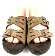 Clarks Springers Shoes Solid Beige Leather Slide On Sandals Womens Size 8.5 M #Clarks #Slides