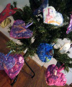 Adornos para el árbol de Navidad en fieltro con aroma de lavanda
