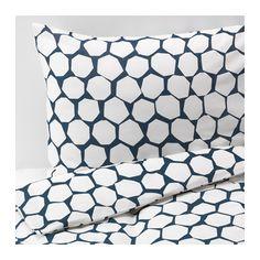 FLÖNG Housse de couette et taie, bleu, blanc bleu/blanc 150x200/65x65 cm