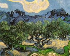 The Athenaeum - Olive Trees with the Alpilles in the Background (Vincent van Gogh - )