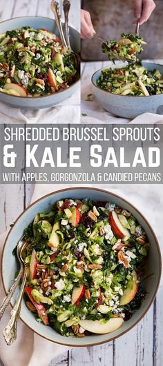 We are so obsessed with this shredded brussels sprouts & kale salad with apples, gorgonzola and candied pecans!  Each bite is like a taste explosion. Make sure to let the salad marinate a few hours per the directions, and wow your friends and family with this healthy recipe! Perfect for a side dish for your next BBQ!