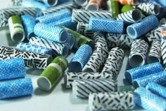 Paper beads made from envelope security patterns