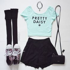 Pastel Grunge Outfit with Pastel Crop Top, Knee High Socks, Chokers, Black Shorts, Floral Converse Shoes and Black Purse - http://ninjacosmico.com/9-fashion-tips-pastel-grunge/
