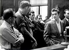 Elvis, in court, stares down a man that he got into a fight with the night before in 1956,