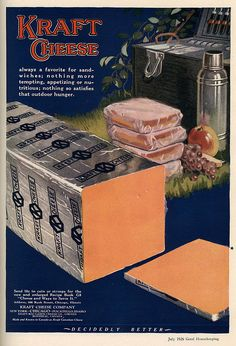 1926 ad for Kraft Cheese. I didn't know it came wrapped like this early on. Old Advertisements, Retro Advertising, Retro Ads, Vintage Ads, Vintage Food, Vintage Posters, School Advertising, Retro Food, Retro Recipes