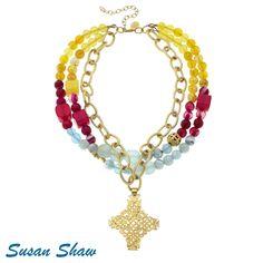 Gold Cross, 3 Row Bead Necklace
