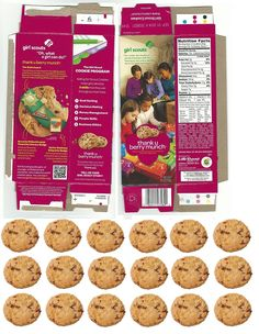 doll sized girl scout thank you berry munch cookie box with matching cookies to fill it!