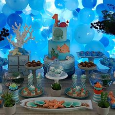 Image may contain: food Baby Boy 1st Birthday Party, Baby Party, Ocean Party, Under The Sea Party, Animal Birthday, Baby Shark, Birthdays, Recipes, Image