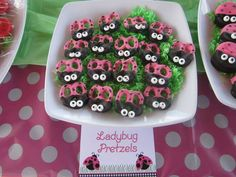 Cute ladybug pretzels at a Ladybug girl birthday party!  See more party planning ideas at CatchMyParty.com!