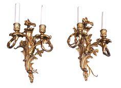 Lighting - Bernardi's Antiques - Toronto | Pair of French Gilt Bronze Sconces.  circa 1910 - $ 750.00 /pair | A lovely pair of heavy gilt bronze French sonces with 2 lights on each.