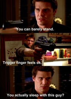 Angel & Riley face off....this was funny because Angel is usually the quiet good guy, and it was funny to see him say this Buffy Summers, David Boreanaz, The Vamps, Joss Whedon, Sarah Michelle Gellar, Apocalypse, Star Trek, Doctor Who, Supernatural