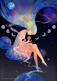 Image about girl in Backgrounds by Shea on We Heart It anime, art, and girl εικόνα Pretty Art, Cute Art, Yuumei Art, Digital Art Anime, Galaxy Art, Art And Illustration, Aesthetic Art, Aesthetic Anime, Anime Art Girl
