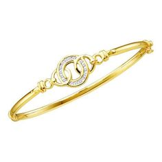 14k Yellow Gold 0.25Ctw Round Diamond Ladies Fashion Cluster Bangle