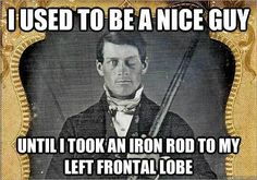 This meme about Phineas Gage's unfortunate accident. 24 Jokes Only Psychology Nerds Will Find Funny Psychology Puns, Forensic Psychology, Psychology Student, Phineas Gage, Psych Memes, Psych Major, Medical Miracles, Science Jokes, Nerd Humor