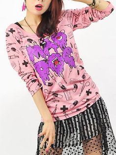 MAD DOC Monster Pattern Long Sleeve Cutsaw Peach Pink. See more at: http://www.cdjapan.co.jp/apparel/listenflavor.html #harajuku #LISTEN FLAVOR