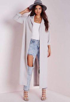 69dbb9c8d5284 Long Sleeve Maxi Duster Jacket Grey *Click the Link to Buy* Grey Coats,