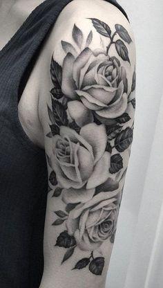 ideas for rose tattoo - the symbol of true love - house decoration more - tattoo- Ideen für Rosen Tattoo – das Symbol der wahren Liebe - Haus Dekoration Mehr ideas for rose tattoo - the symbol of true love template Girls With Sleeve Tattoos, Shoulder Tattoos For Women, Tattoos For Guys, Rose Sleeve Tattoos, Half Sleeve Tattoos Drawings, Tattoo Roses, Rose Flower Tattoos, Rosen Tattoo Arm, Rosen Tattoos