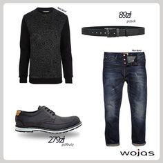 Wygodne półbuty marki Wojas (3031-91) doskonale sprawdzą się w swobodnych miejskich stylizacjach. Najlepiej połączyć je z czarną bluzą w orientalne printy, prostymi dżinsami oraz skórzanym paskiem Wojas (40/G07 CZ 110).