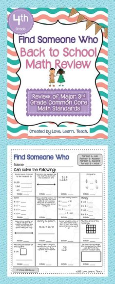 Back to School math review * Use in 4th grade to review 3rd grade math concepts * Great activity for first weeks of school #cooperativelearning #fourthgrade