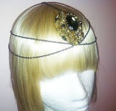 1920s Bohemian Art Deco Chain and Smokey Quartz Headpiece-Art Nouveau-Nicole Ritchie Headpiece Fashion Star-Chain Headdress 1920s Wedding