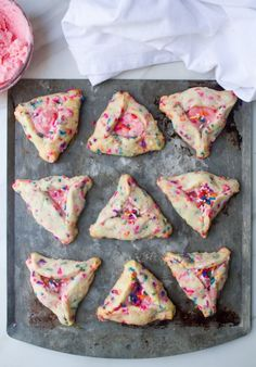 Strawberry Champagne Rainbow Hamantaschen - What Jew Wanna Eat Pink Food Coloring, Strawberry Champagne, Cream Cheese Eggs, Jewish Recipes, Jewish Desserts, Pink Foods, Cookies Ingredients, Stick Of Butter, Holiday Recipes