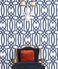 statement patterns, navy and white trellis wallpaper! Trellis Wallpaper, Fabric Wallpaper, Wall Wallpaper, Bathroom Wallpaper, Interior Inspiration, Design Inspiration, White Trellis, Geometric Wallpaper, Geometric Prints