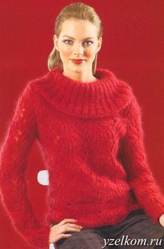 пуловер ажурным узором спицы