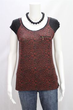 A.N.A New Approach Misses SMALL Red Gray Animal Leopard Print Sweater Shirt Top #ana #Tunic