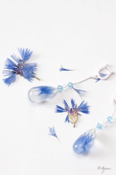 Cornflower blue wedding jewelry - Cornflower bridal earrings - Cornflower blue…