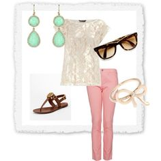 Spring Outfit: coral green earrings, pink pants, & sparkly white top
