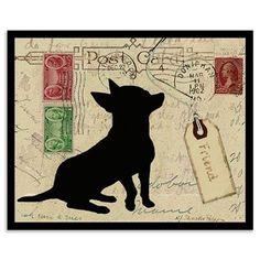 S c r a p Ᏸ o o k i n g Gatsby Inspired Wall Art - Chihuahua Silhouette, Framed Print, 20x25cm