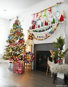 Bright and Colorful Holiday Home Tour. Easy ways to celebrate the holidays with color. Simple DIY ideas you can make to bring the spirit of Christmas into your home this holiday season! holidays Bright and Colorful Holiday Home Tour - DIY project ideas! Whimsical Christmas, Colorful Christmas Tree, Rustic Christmas, Simple Christmas, Winter Christmas, Eclectic Christmas Decorations, Vintage Christmas, Merry Christmas, Victorian Christmas