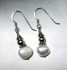 EARRINGS -  FRESHWATER  - PEARL  - Vintage  -  Estate Sale - Fish Hooks  - 925 - Sterling Silver earrings309 by MOONCHILD111 on Etsy