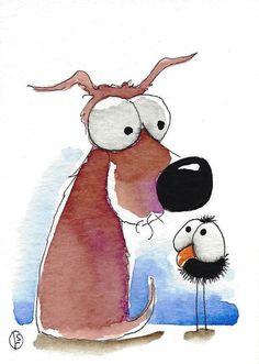 ACEO Original watercolor whimsical animal painting puppy dog bird crow hello #Folkartillustration