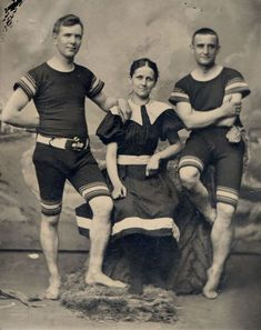 American Gilded Age - leisure fashion, late 19th-century.  A studio pose with a seaside backdrop, of two men and a woman in full fashioned wool bathing suits. ~ {cwl} ~ (Original Image: ebay)