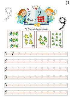 9 Rakamı Çalışmaları Teaching Kindergarten, Preschool, Number Tracing, Turkish Language, Math For Kids, Primary School, Grade 1, Numbers, Handmade
