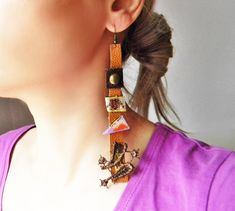 Super long brown leather earrings with painted paper and flower embroidery, Mixed media Collage, Unusual assemblage earrings, Artsy gift Paper Earrings, Dangle Earrings, Unusual Jewelry, Handmade Jewelry, Handmade Gifts, Ruff Collar, Layered Chokers, Painted Paper, Mixed Media Collage