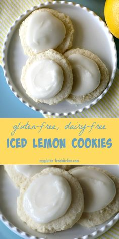 Gluten-free Iced Lemon Cookies. Dairy-free too! This yummy recipe makes delicate lemon cookies with lots of fresh lemon flavor! #glutenfreerecipes #glutenfreecookies