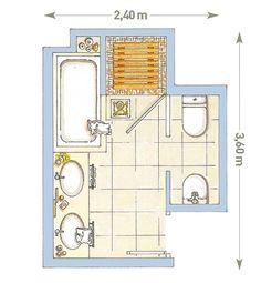Un ba o dividido en dos zonas hotels - Plano bano pequeno ...