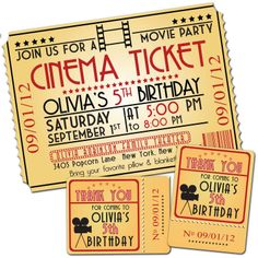 "MOVIE NIGHT Birthday Party Themed Invitation & Favor Tags size  4""x6"" or 5""x7"" --complete digital file--. $18.95, via Etsy."