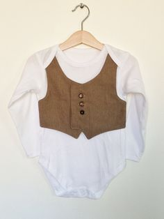 18-24 mths toddler waistcoat onesie/baby vest, light brown herringbone, toddler wedding outfit, toddler suit, smart formal toddler, via Etsy.