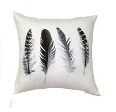 Four Feathers Cushion #black-and-white #cushion #white