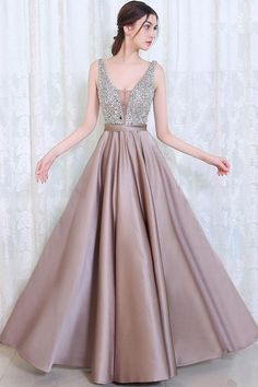 Beading Open Back Prom Evening Formal Dresses #prom #promdresses #angrila #long #eveningdresses