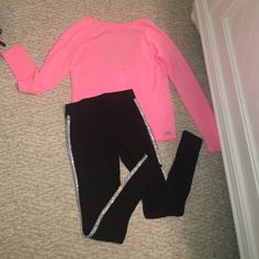 PINK VS outfit Pants & Shirt both have my name in it. Both are in good condition! Both are XS. PINK Victoria's Secret Pants Skinny