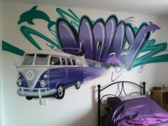 children / teen / Kids Bedroom Graffiti mural - #handpainted #graffiti #featurewall #design #graffitibedroom #interior #design #street #urban #vw #cars