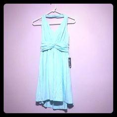 Baby Blue Halter Dress So soft, so flowy, so cute! Express Dresses Mini