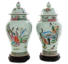 Pair Chinese famille rose porcelain covered urns