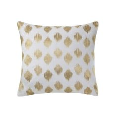 INK+IVY Nadia Dot Metallic Gold Embroidery Pillow ($30) ❤ liked on Polyvore featuring home, home decor, throw pillows, gold, metallic home decor, polka dot home decor, gold polka dot throw pillow, embroidered throw pillows and ikat throw pillows
