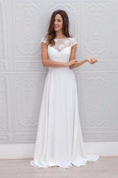 Lace over Chiffon Scoop Neckline Floor Length Wedding Dress Open Back Bridal Gown 2018